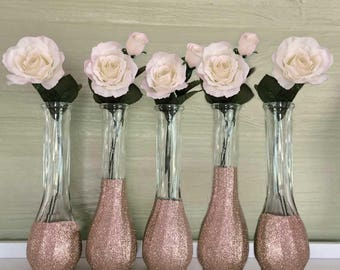 Rose Gold Vases, SET OF 10, Rose Gold Glitter, Rose Gold Bud Vases, Rose Gold Wedding, Rose Gold Centerpiece, Rose Gold Dip, Fine Glitter