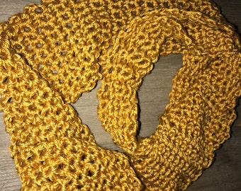 Gold/ honey mustard colored crocheted scarf