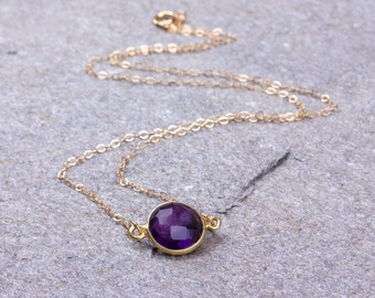 Amethyst Necklace / Amethyst Pendant / February Birthstone necklace / Bridesmaid necklace / Purple necklace / Gemstone necklace | Socus
