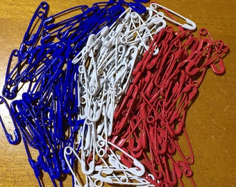 150 Plus Colored Safety pins mix of patriotic red white and blue 3/4 inch metal coiled