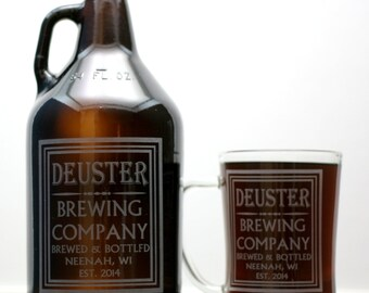 Personalized Beer Gift HomeBrew Growler and 2 Glass set with Old School Brewing Label Design.Beer Gift,dad,granddad,father,brother