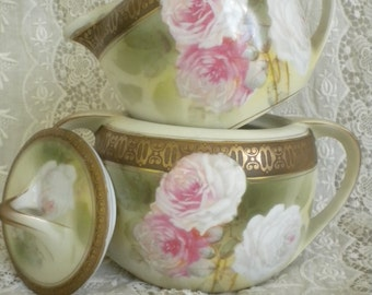 R. S. Germany / Signed Reinhold Schlegelmilch Tillowitz { Roses and more Roses! } Cream & Sugar Set - Art Deco Gold Embossed Band
