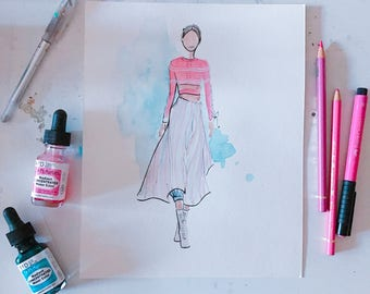 Fendi Spring 2017 3 Original Watercolour Fashion Illustration, Fashion Sketch, Watercolour Illustration, Fashion Art