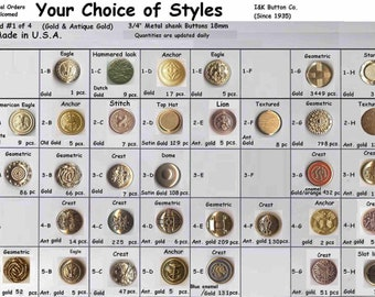 """30 Metal 3/4""""  Buttons Gold 80 styles to choose from Brass Shank 19mm- Halloween Costumes Theater Plays Medieval Renaissance Faire Clothing"""
