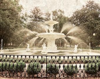"Savannah Garden Print, Fountain Photo, Beige Landscape Photo, Historical District, Forsyth Park Art, Famous Monument- ""Forsyth Fountain"""