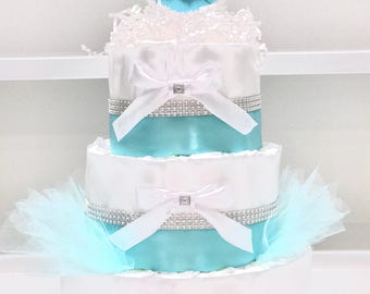 Baby & Co Shower Diaper Cake Centerpiece Robins Egg Blue Bling w/ White Bows Shower Centerpiece