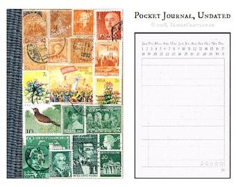 Sunset Landscape Journal, A6 • Orange Green Stamp Art Notebook