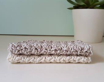 Large Crochet Washcloth, 100% Cotton, Dishcloth, Reusable, Ecofriendly, Handmade, Set of 2
