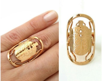 Ring beetle gold plated 750/000 - ring insect, jewel beetle, adjustable size - Beetle ring, 750 yellow gold plated
