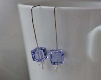 Modern Tanzanite Swarovsk Cube Earrings // Handmade  // Bridesmaid Gift // Bling