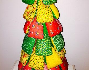 Soft sculpture calico Xmas tree