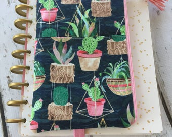 Ready to  ship, Cactus Print Happy Planner pouch, planner organizer, daily planner pouch, zip bag, journal cover pouch, planner bag