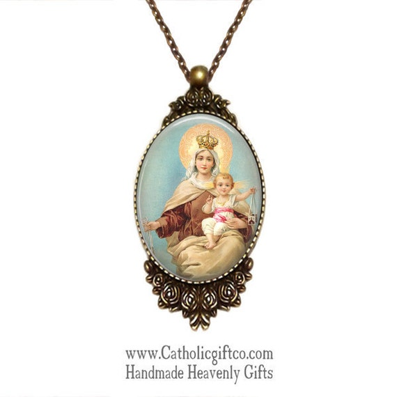 Our Lady of Mount Carmel Necklace with 18 or 24  inch oval link necklace - Catholic Necklace - Bronze setting framed in roses