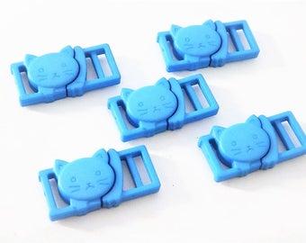 "5 Blue Cat Collar Buckles - 1/2"" Cat Head Breakaway Buckles - Cat Collar Parts"