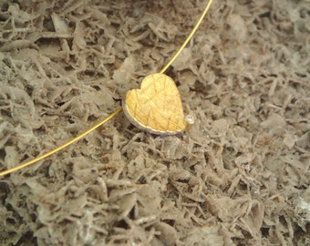 A golden heart! Gold and silver pendant with textured surface and a small diamond, Textured jewelry, Small diamond necklace,Valentine's gift