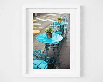 Icelandic photo print - Reykjavík City cafe - Reykjavik Iceland - World cities travel - Colorful blue - Framed wall decor - Small art 8x10+
