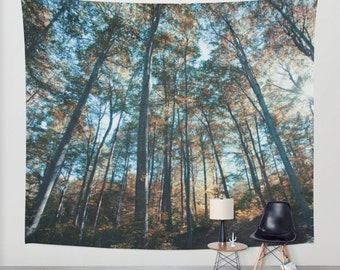 wall tapestry, oversized wall art, forest tapestry, tree tapestry, bohemian wall tapestry, nature tapestry, blue trees zen