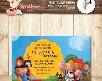 Peanuts Movie Birthday Invitation - Custom Digital Birthday Invitation 4x6 Peanuts Invite Peanuts Party,Peanuts Invitation,Snoopy Invitation