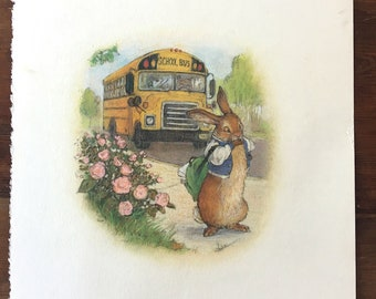 Original art from Rabbit and Turtle go to School