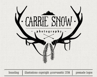 Wild nature photography logo - antlers, mountains, feathers - Eps and Png file watermark - Premade  logo - wild logo for photographers