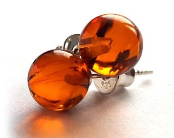 Earrings; Red earrings, Baltic Amber Earrings, Christmas gift