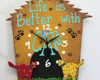 Life is better with CATS  Clock,Baby Nursery Decor,Animal Clock, Fun Clock for Kids