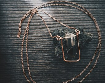 Hammered Copper and Smoky Quartz Necklace