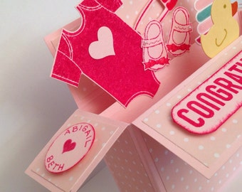 Handmade card in a box Pop up baby girl card card in a box, new baby, birth congratulations