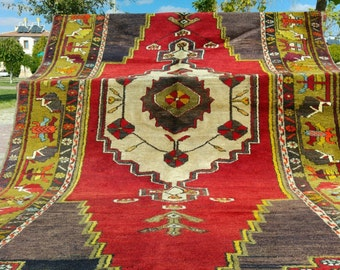"""Exclusive Antique 4'8""""×9'4"""" Natural Colors Wool Pile Tribal Area Rug"""