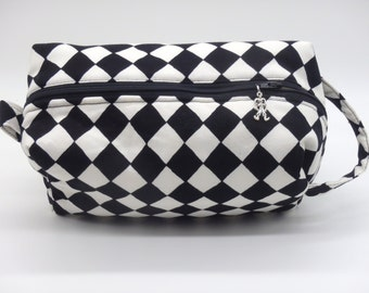 Harlequin Pouch, Zip Pouch, Ditty Bag, Toiletry Kit, Cosmetics Case, Makeup Bag, Travel Case, Black & White Diamonds