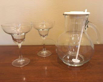 Crate & Barrel Pitcher and Margarita Glasses