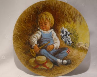 1980 Mother Goose Series Collection Plate Little Boy Blue by John McClelland #09451E