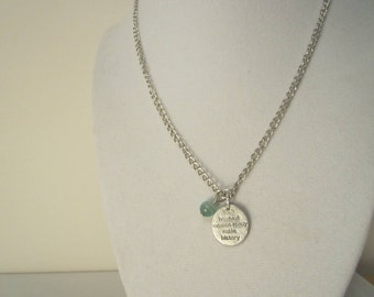 On Sale Charm Necklace for Ovarian Cancer *Charity Listing* Stamped Charm