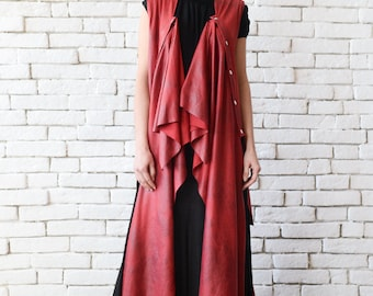 NEW Long Red Suede Vest/Extravagant Plus Size Tunic/Oversize Red Top/Red Maxi Tunic/Red Suede Tunic/Asymmetric Loose Long Top/Sleeveless Top