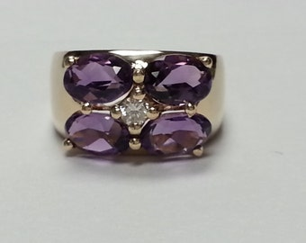 Close Out. Amethyst and Diamond Yellow Gold Ring