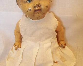 Creepy scary antique tin doll