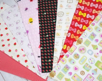 """Girls fabric scrap including bow and strawberry   print 25 cm by 25   cm or 9.6 """" by 9.6""""  set of 8 pieces sc07"""
