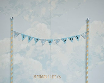 Baby shower personalised cake top bunting
