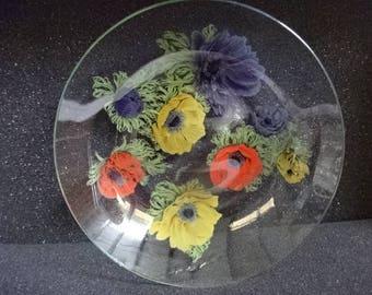 Very Pretty Chance Glass Bowls/1 Small/2 Medium/Poppies/Vintage/1960s
