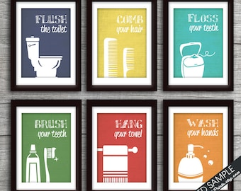 Funny Bathroom Prints   Set Of 6   Art Print (Featured In Brushed Steel  Color