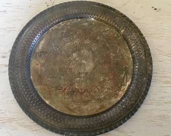 silver tray - distressed tarnished patina with ornate reticulated rim - shabby cottage chic