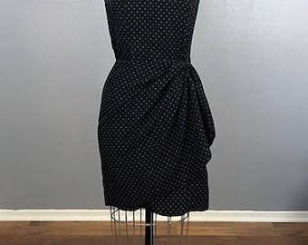 VTG des années 90 noir à pois gaine Sarong Polkadot Grunge robe Vintage drapé jupe 90 s sans manches des années 90