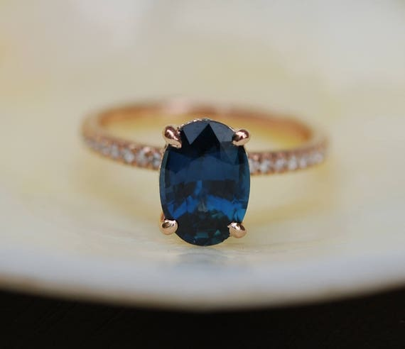 Blake Lively Ring Navy Blue sapphire ring 14k rose gold diamond ring 2.22ct navy blue sapphire ring by Eidelprecious