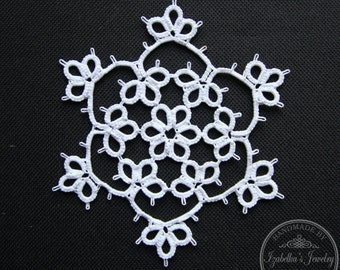 Hand tatted Christmas Snowflake XI