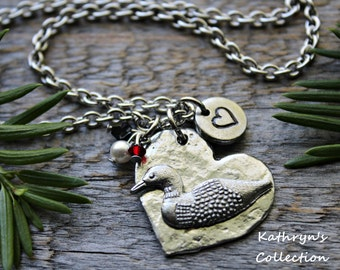 Loon Necklace, Loon Jewelry, Common Loon, Loon Lover Gift, Bird Lover Gift