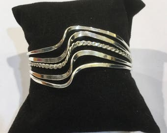 Silver Plated Bracelet Mexican Wave Design Handmade in Taxco.