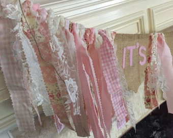 It's a Girl Baby shower banner Shabby Chic shower decor Pink Cream Lace Burlap Banner Rag Garland Baby shower