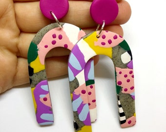 Gor(wo)man - Polymer clay statement dangle earrings
