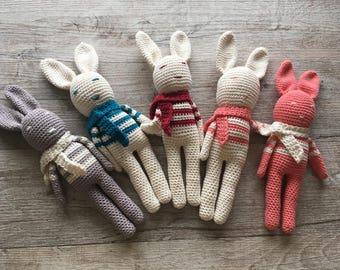 Organic cotton hand knitted rabbits stuffed animals