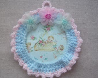 Full decoration of tenderness to celebrate the arrival of baby handmade crochet hanging - pale blue wool